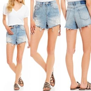 NWT Embroidered distressed  high rise blue short